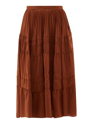 Rochas tiered silk crepe de chine midi skirt