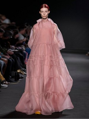 Rochas tiered silk organza gown