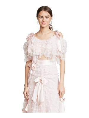 Rodarte embroidered tiered off shoulder blouse