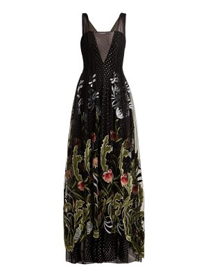 Rodarte Floral Embroidered Fil Coupé Tulle Gown