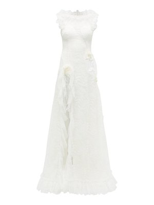 Rodarte rosette ruffled chantilly-lace gown
