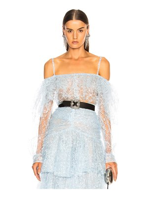 Rodarte Tulle Long Sleeve Off Shoulder Blouse