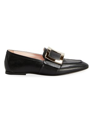 Roger Vivier 10mm Leather Buckle Flat Loafers