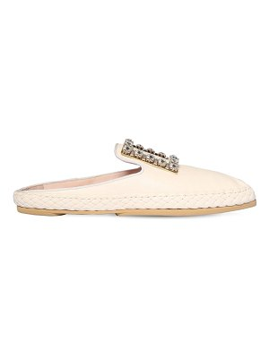Roger Vivier 10mm lounge crystal & leather mules