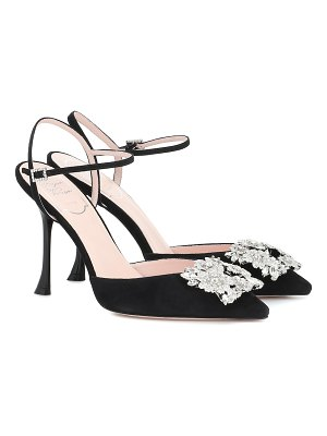 Roger Vivier bouquet strass buckle suede pumps