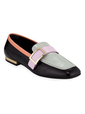 Roger Vivier Colorblock Leather Buckle Loafers