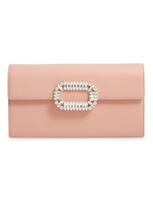 Roger Vivier crystal buckle leather envelope clutch
