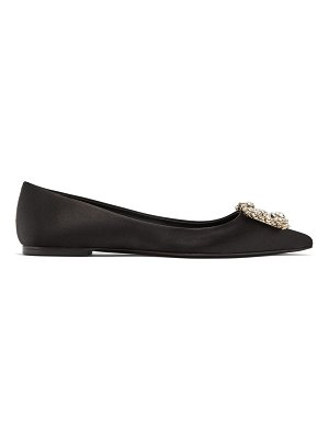 Roger Vivier crystal-buckle pointed satin flats