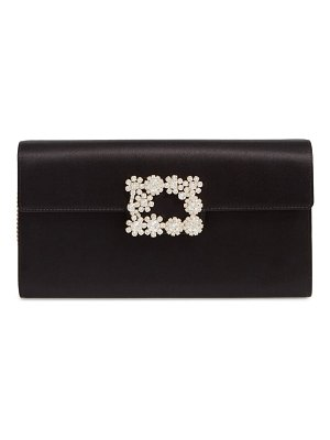 Roger Vivier flower buckle satin clutch
