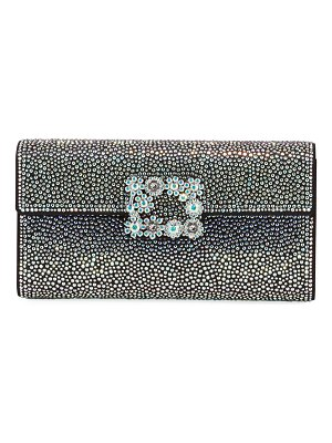 Roger Vivier Flower Iridescent Crystal Clutch Bag