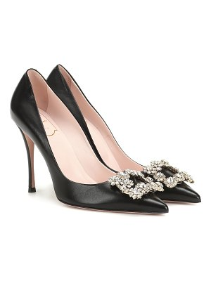 Roger Vivier flower strass leather pumps