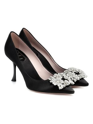 Roger Vivier flower strass satin pumps