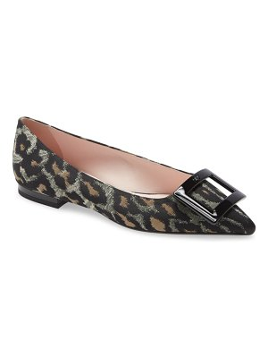 Roger Vivier gommettine buckle leopard pointed toe flat