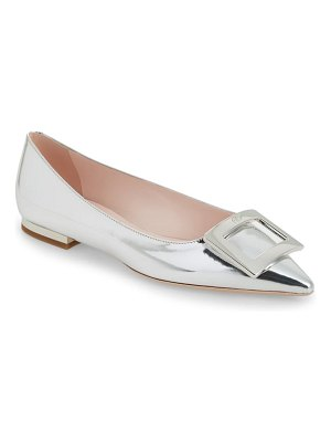 Roger Vivier gommettine buckle metallic pointed toe flat