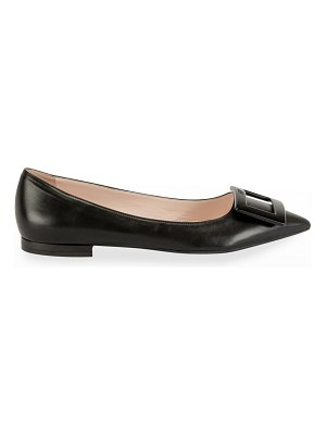Roger Vivier Gommettine Leather Ballet Flats with Tonal Buckle