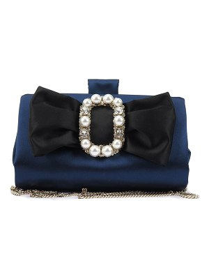 Roger Vivier Pearly Bow Buckle Soft Clutch Bag