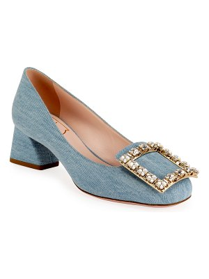 Roger Vivier Tres Vivier 45mm Denim Crystal-Buckle Pump
