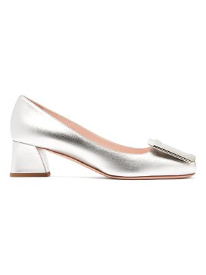 Roger Vivier très vivier block-heel buckled leather pumps