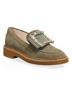 Roger Vivier Viv' Rangers Suede Loafers with Crystal Buckle