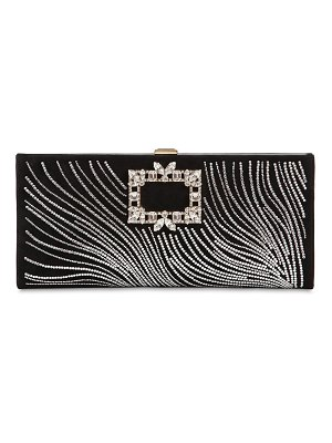 Roger Vivier Wave crystal & suede clutch