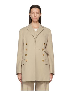 Rokh beige double belt blazer