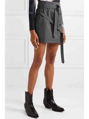 Rokh belted button-embellished twill wrap mini skirt