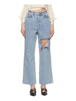 Rokh blue denim slashed straight-leg jeans