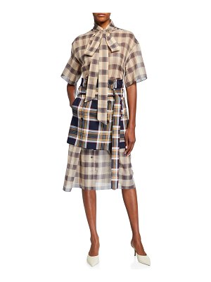 Rokh Checked Chiffon Dress with Apron