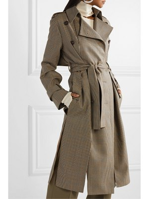 Rokh double-breasted paneled houndstooth wool trench coat