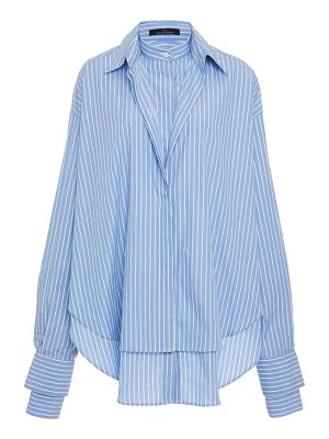 Rokh dual pinstriped cotton-poplin button-up shirt size: 34