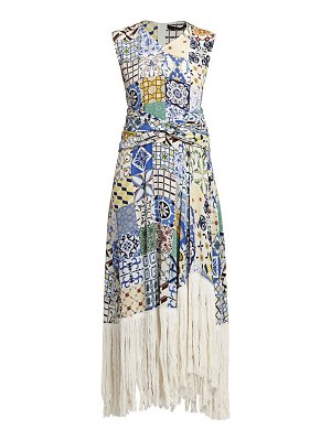 Rokh fringe hem tile print midi dress