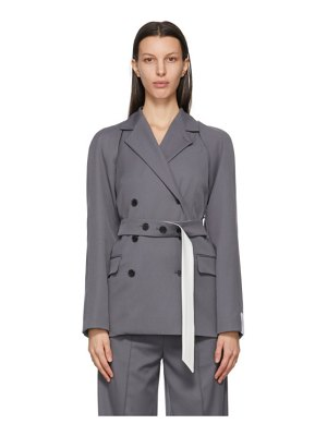 Rokh grey detachable sleeve belted blazer