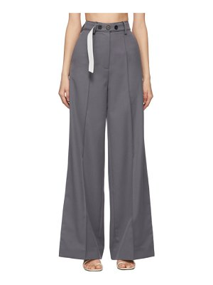 Rokh grey long split leg trousers