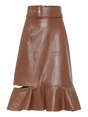Rokh high-rise leather midi skirt