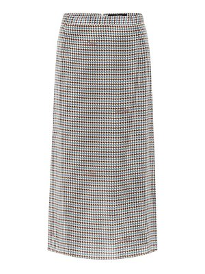 Rokh houndstooth silk midi skirt