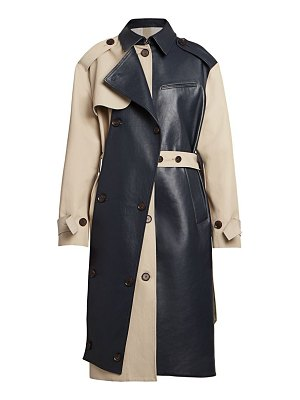 Rokh leather panel trench coat