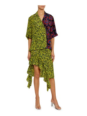 Rokh Multi-Floral Cotton Tie-Neck Blouse
