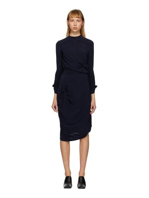 Rokh navy knot stretch dress