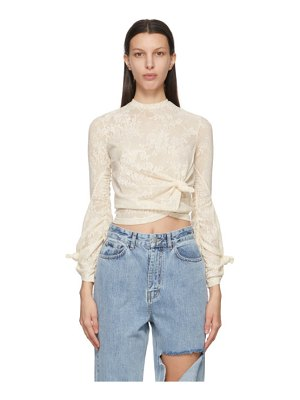 Rokh off-white lace knot twisted long sleeve t-shirt