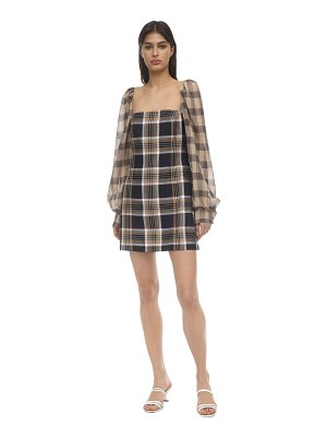 Rokh Puff sleeve techno twill mini dress