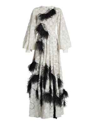 Roksanda audra feather-embellished fil coupé gown