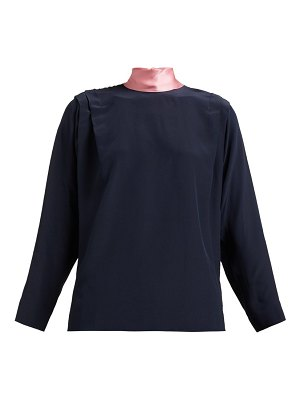 Roksanda aulna contrast panel tie neck silk blouse