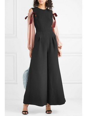 Roksanda bow-embellished cold-shoulder crepe jumpsuit