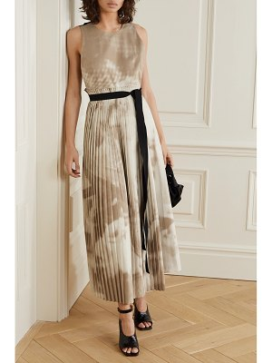 Roksanda calixa asymmetric pleated printed poplin dress