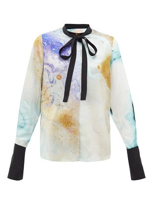 Roksanda carone watercolour-print silk neck-tie blouse