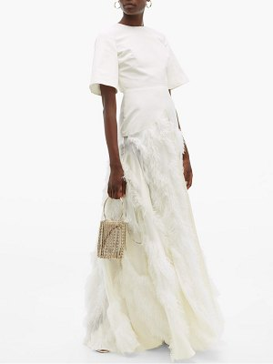 Roksanda chandra feather skirt silk faille gown