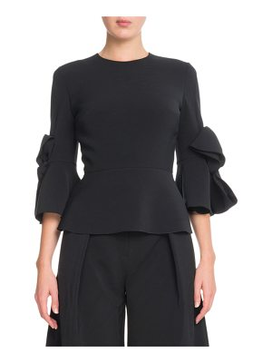 Roksanda Elbow-Sleeve Peplum Crepe Top