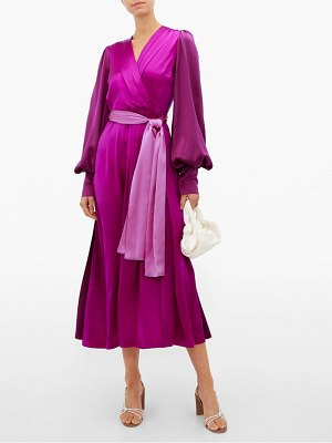 Roksanda elena balloon sleeve silk midi dress