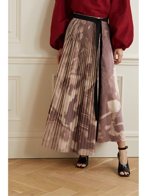 Roksanda etna asymmetric pleated printed poplin skirt