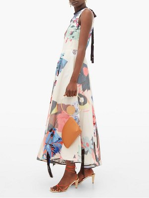 Roksanda laura abstract embroidered taffeta dress